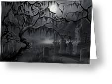 Midnight In The Graveyard  Greeting Card