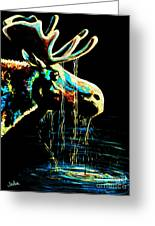Midnight Moose Drool  Greeting Card by Teshia Art