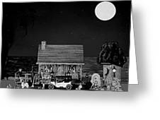 Midnight Near The Sea In Black And White Greeting Card