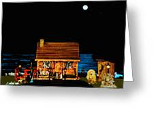 Log Cabin Scene Near The Ocean At Midnight Greeting Card by Leslie Crotty