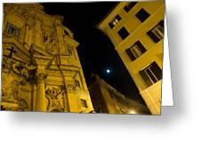 Midnight Roman Facades In Yellow  Greeting Card