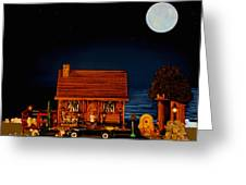 Log Cabin With 1938 Mercedes Benz 770k Pullman Convertible In Color Greeting Card by Leslie Crotty