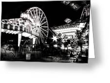 Midway Attractions In Black And White Greeting Card