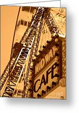 Midway Cafe Sepia Greeting Card