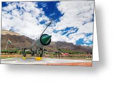 Mig-21 Fighter Plane Of Indian Air Force Used In Kargil War Displayed As Victorious Memory Greeting Card