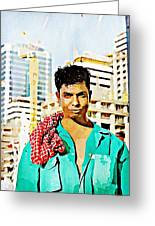 Migrant Worker Greeting Card by Peter Waters