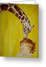 Mika And Giraffe Greeting Card