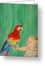 Mika And Parrot Greeting Card