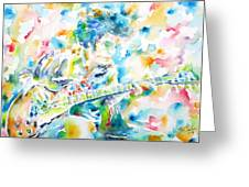 Mike Bloomfield Playing The Guitar - Watercolor Portrait Greeting Card