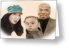 Mike Tyson And Family Altered Version From The One I Gave Him Greeting Card by Jim Fitzpatrick