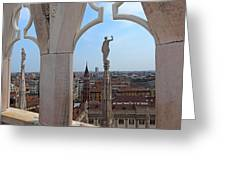 Milan Cathedral Rooftop View Greeting Card