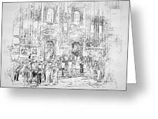 Milano Dome Tourists Bw Greeting Card
