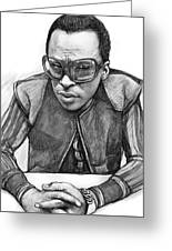 Miles Davis Art Drawing Sketch Portrait Greeting Card