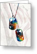 Military Art Dog Tags - Honor - By Sharon Cummings Greeting Card
