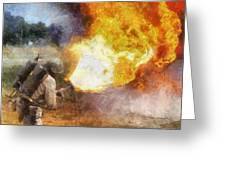 Military Flame Thrower Photo Art 01 Greeting Card