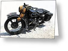 Military Style Bmw Motorcycle Greeting Card