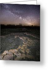 Milky Way On The Rock Greeting Card