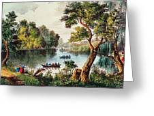 Mill Cove Lake Greeting Card by Currier and Ives