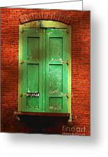 Mill Door In Dappled Sunlight Greeting Card