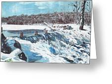 Mill Pond In Winter Greeting Card