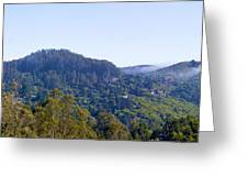 Mill Valley Ca Hills With Fog Coming In Left Panel Greeting Card