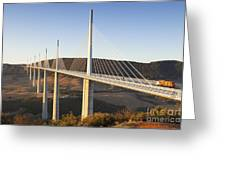 Millau Viaduct At Sunrise Midi Pyrenees France Greeting Card by Colin and Linda McKie