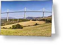 Millau Viaduct Panorama Midi Pyrenees France Greeting Card by Colin and Linda McKie