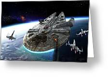Millenium Falcon Being Escorted Greeting Card by Kurt Miller