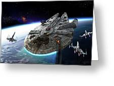 Millenium Falcon Being Escorted Greeting Card