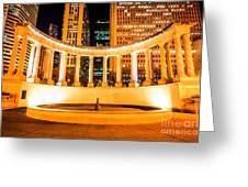 Millennium Monument Fountain In Chicago Greeting Card by Paul Velgos