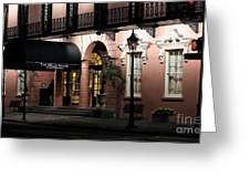 Mills House At Night Greeting Card by John Rizzuto