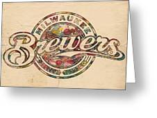 Milwaukee Brewers Poster Vintage Greeting Card