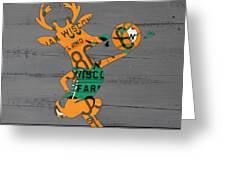 Milwaukee Bucks Basketball Team Logo Vintage Recycled Wisconsin License Plate Art Greeting Card