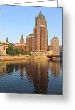 Milwaukee River Theater District 4 Greeting Card