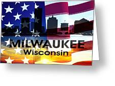 Milwaukee Wi Patriotic Large Cityscape Greeting Card