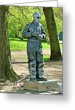 Mime In A Park In Tallinn-estonia Greeting Card