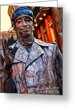 Mime In Silver On Bourbon St. Greeting Card