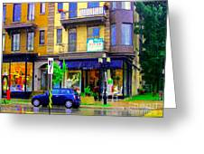 Mimi And Coco Clothing Boutique Laurier In The Rain  Plateau Montreal City Scenes Carole Spandau Art Greeting Card