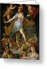 Minerva Victorious Over Ignorance Greeting Card