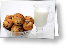 Mini Chocolate Chip Muffins And Milk - Bakery - Snack - Dairy - 1 Greeting Card