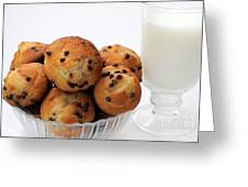 Mini Chocolate Chip Muffins And Milk - Bakery - Snack - Dairy - 2 Greeting Card