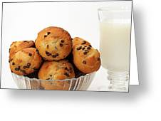Mini Chocolate Chip Muffins And Milk - Bakery - Snack - Dairy - 3 Greeting Card