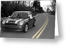 Mini-cooper Car Driving On Double Yellow Country Road Greeting Card
