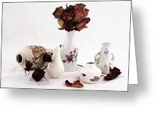 Mini Vase With Dried Roses Greeting Card