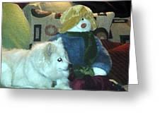 Miniature American Eskimo And Snowman Greeting Card