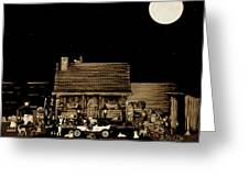 Miniature Log Cabin Scene With Old Time Classic 1908 Model T Ford In Sepia Color Greeting Card by Leslie Crotty