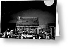 Miniature Log Cabin Scene With Old Time Vintage Classic 1930 Packard Labaron In Black And White Greeting Card