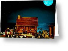 Miniature Log Cabin Scene With Old Time Vintage Classic 1930 Packard Labaron In Color Greeting Card by Leslie Crotty