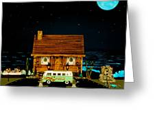 Miniature Log Cabin Scene With Old Time Vintage Classic 1962 Coca Cola Flower Power V.w. Micro Bus Greeting Card