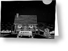 Miniature Log Cabin Scene With Old Vintage Classic 1962 Coca Cola Flower Power V.w. Bus In B/w Greeting Card by Leslie Crotty